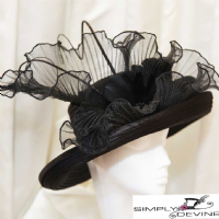 Black satin hat LH17